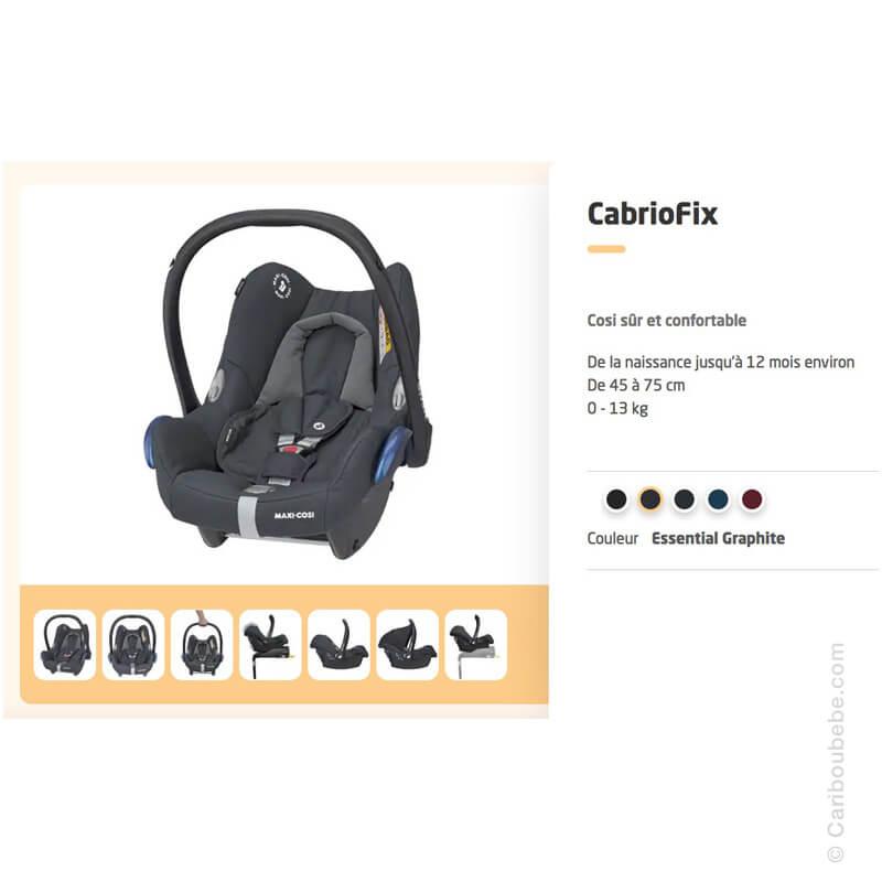 Siège Auto Cabriofix Essential Graphite Gpe0+ Isofix 0-13kg Maxi Cosi