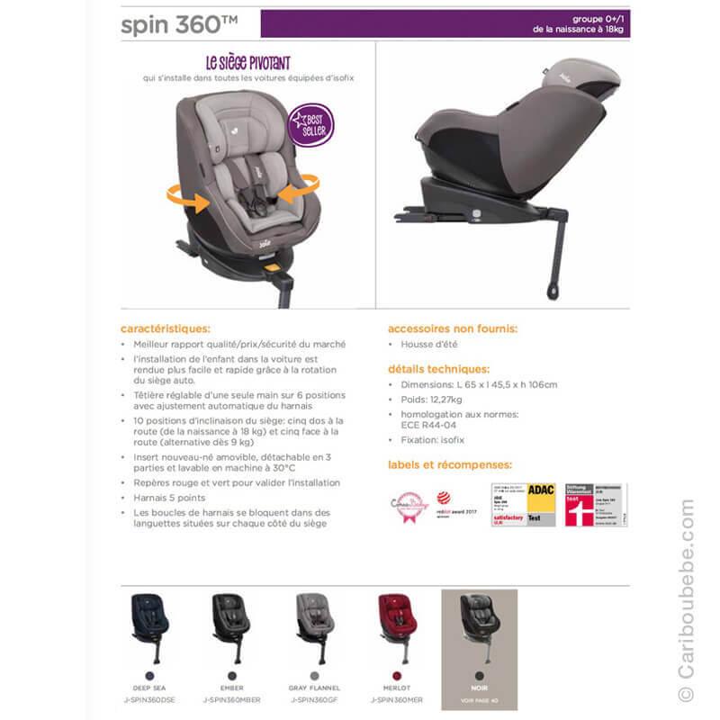 Sièges Auto Spin 360 Gpe0+/1 Joie