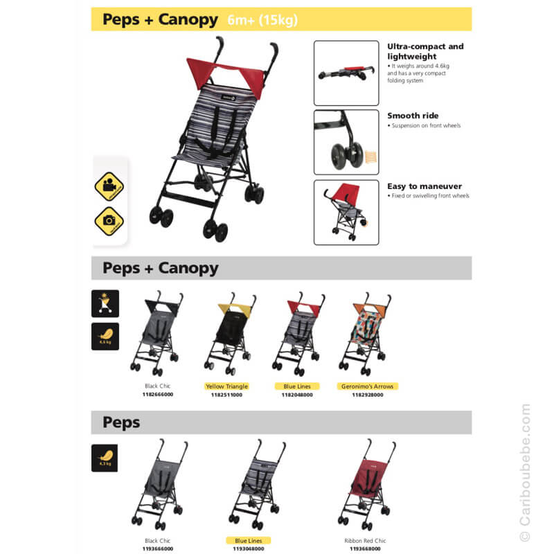 Poussettes Canne Peps + Canopy Safety