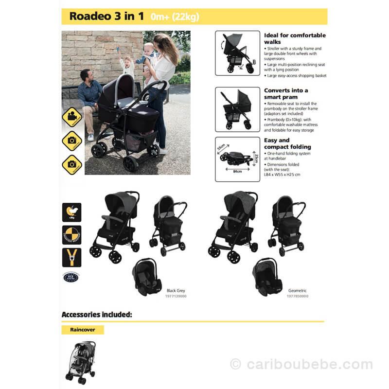 Poussettes Roadeo 3en1 choix de couleurs Safety