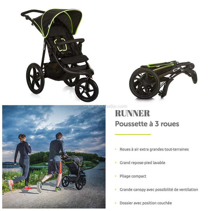 Poussette Runner 3 Roues Black Néon Yellow naissance à 25kg Hauck