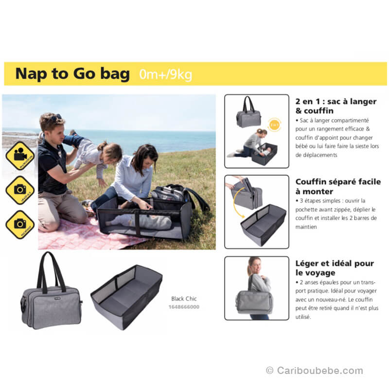 Sac à Langer 2en1 Nap To Go Bag Black Chic Safety