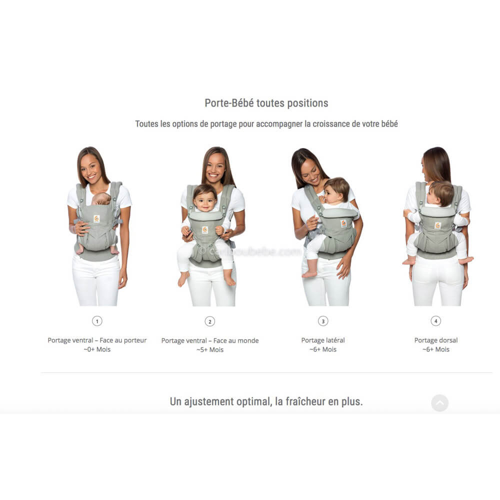Porte-bébé Latéral Omni 360 Cool Air Mesh 4 positions Ergobaby