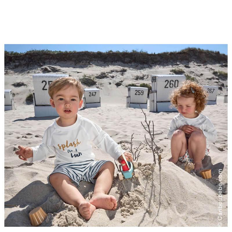 T-Shirt à manche longues Garçon Slash et Fun Blanc/Bleu 12M Lassig