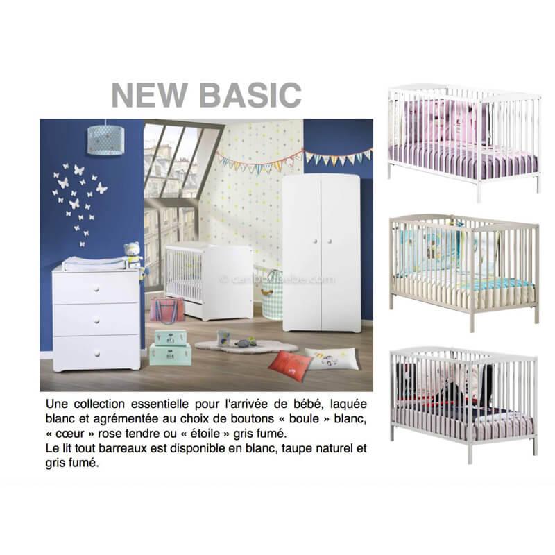 Chambre New Basic Lit bébé à barreaux 120x60cm 3 Positions Blanc, Gris, Taupe Sauthon Baby Price