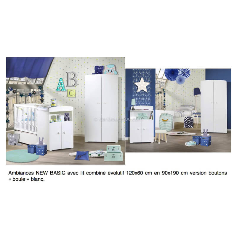 Chambre New Basic Lit Combiné Évolutif 120x60cm En 90x190cm Boutons Boule Gris Sauthon Baby Price