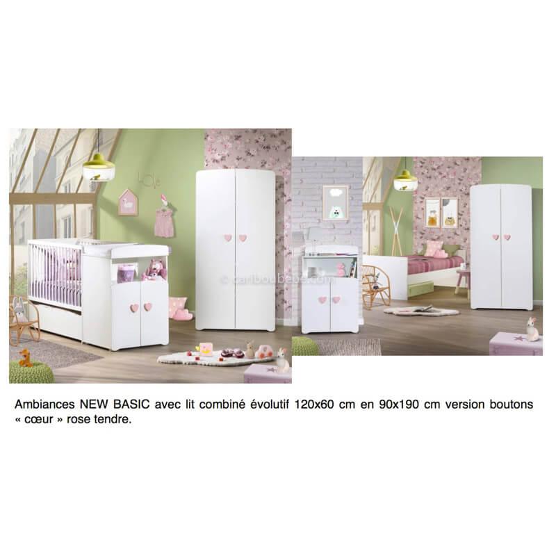 Chambre New Basic Lit Combiné Évolutif 120x60cm En 90x190cm Boutons Cœur Rose Sauthon Baby Price
