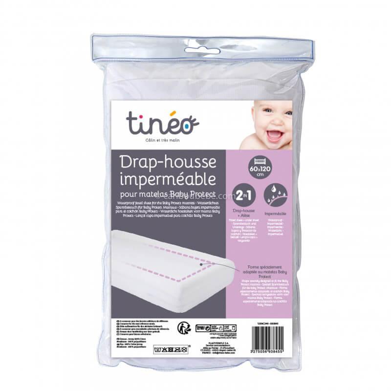 Drap Housse Baby Protect Imperméable Coton 60x120cm et 70x140cm Blanc Candide Tineo
