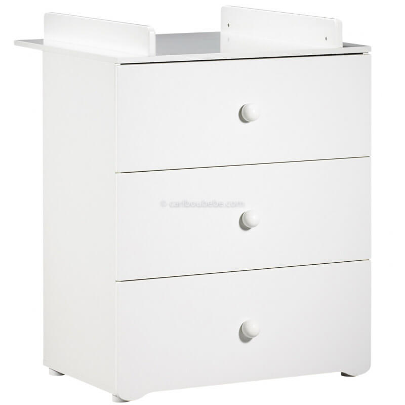 Commode à Langer 3 Tiroirs Boutons Boule Blanc New Basic Sauthon Baby Price
