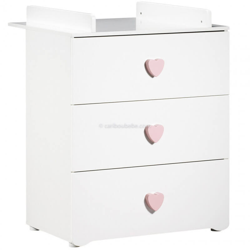 Commode à Langer 3 Tiroirs Boutons Cœur Rose New Basic Sauthon Baby Price