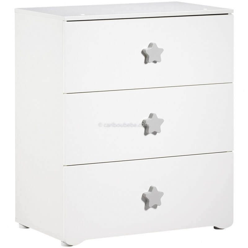 Commode à Langer 3 Tiroirs Boutons Étoile Grise New Basic Sauthon Baby Price