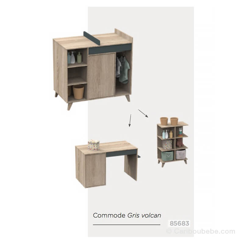 Commode à Langer Évolutive en-Bureau 1 Porte 1 Tiroirs 3 Niches New Nova Sauthon Meubles