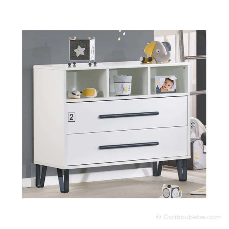 Commode 2 Tiroirs 3 Niches Graphite Sauthon Meubles