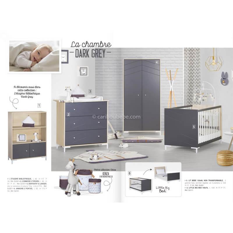 Chambre complète Dark Grey Sauthon Meubles