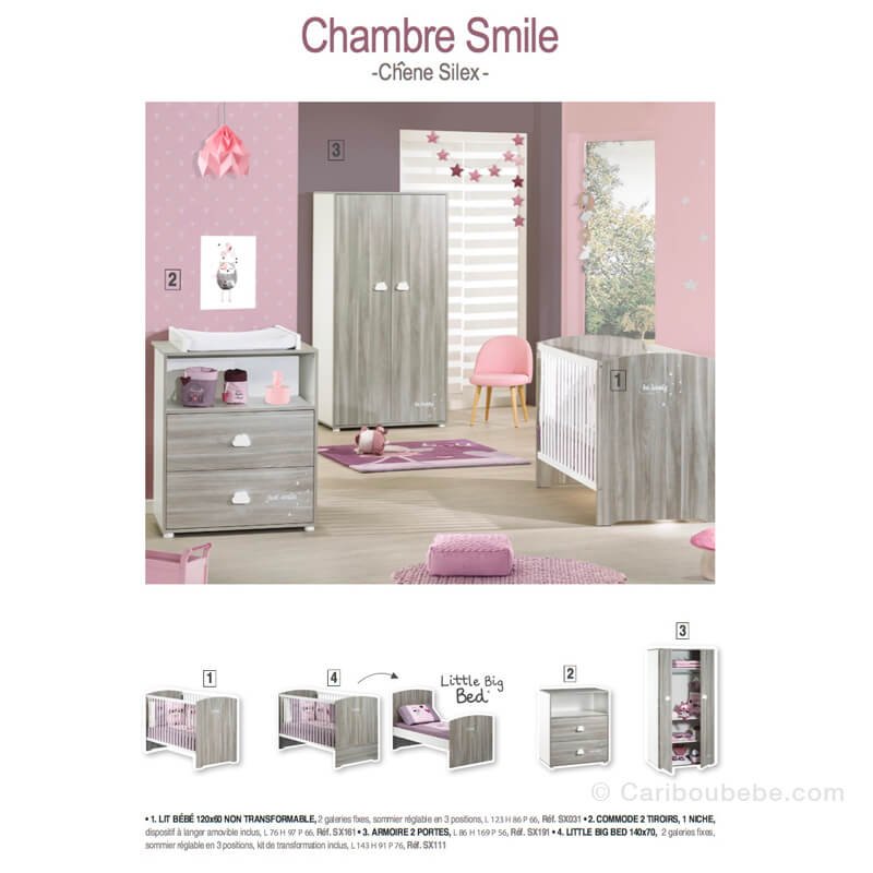 Lit Combiné Évolutif 120x60cm Smile Chêne Silex 1 Sauthon Baby Price