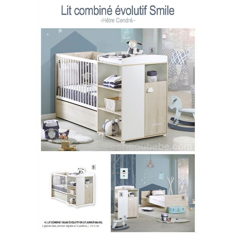 Chambre Lit combiné évolutif Smile Hêtre Cendré Sauthon Baby Price
