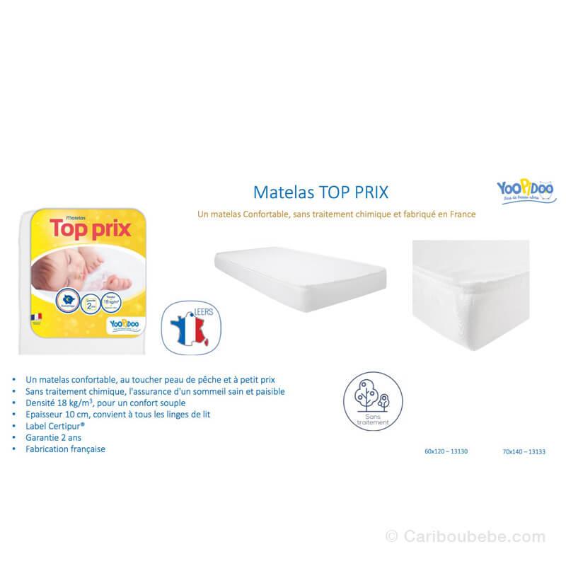 Matelas Yoopidoo Top Prix 60x120x10 ou 70x140x10cm Ptit Lit