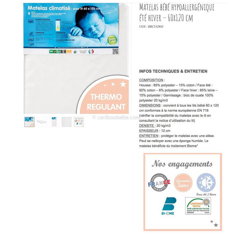 Matelas Hypoallergique Été-Hiver 120x60cm Baby Calin