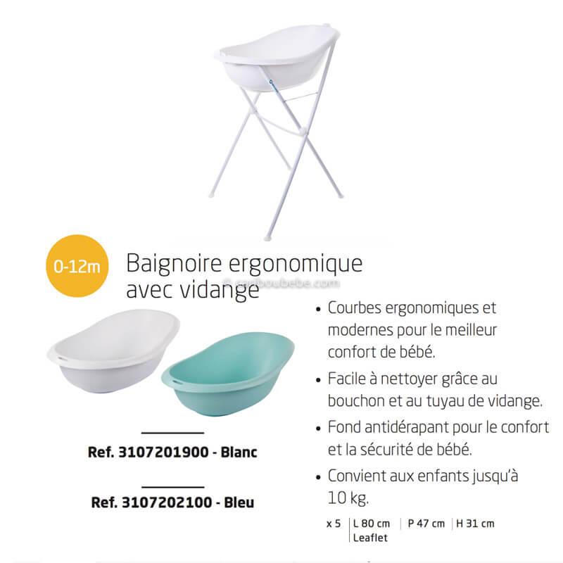 Baignoire Ergonomique Verso + Bouchon de Vidange 0-12M Bébé Confort