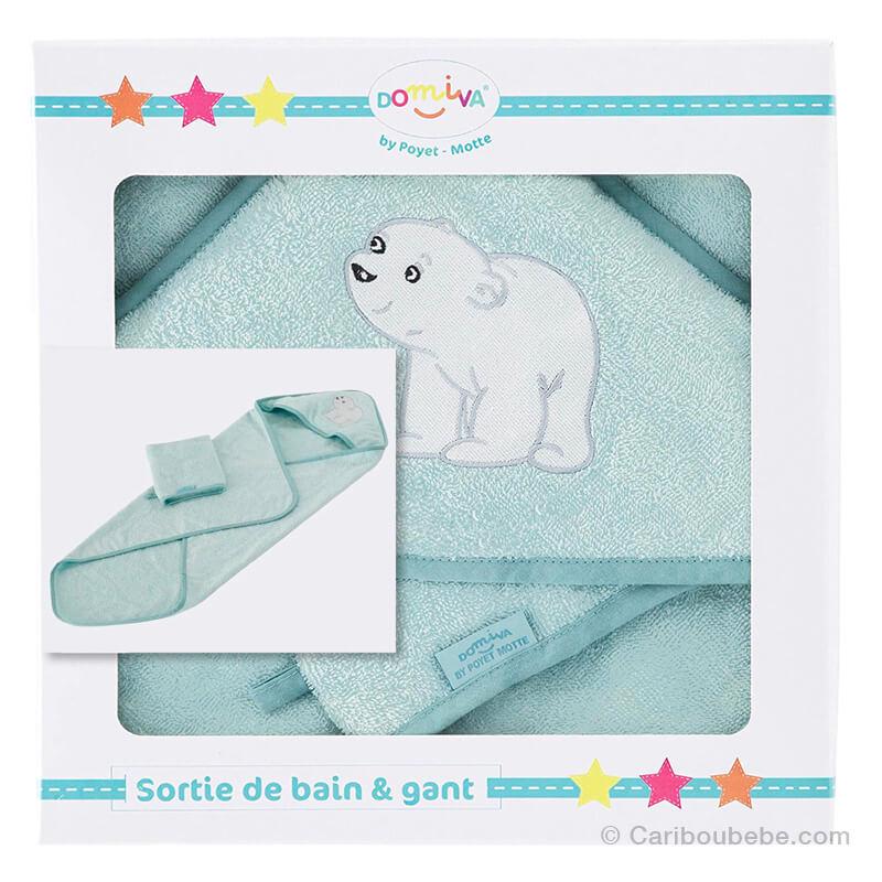 Sortie de bain + Gant Flocon L'Ourson Domiva