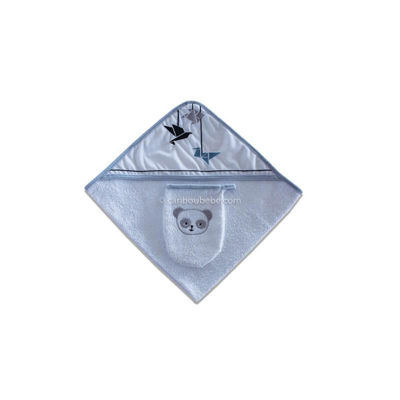 Sortie de bain + Gant Panda Bleu Les Chatounets Autres