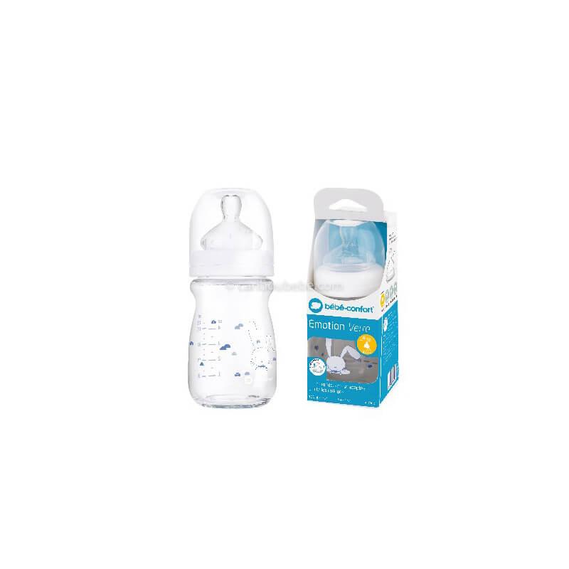 Biberon Émotion en Verre 130ml Tétine Silicone T0 0-6M Sweet Bunny Bébé Confort