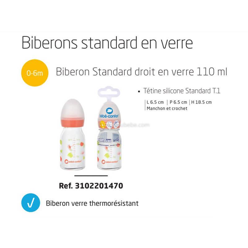 Biberon Droit en Verre 110ml Tétine Silicone T1 0-12M Jungle Vibes Bébé Confort