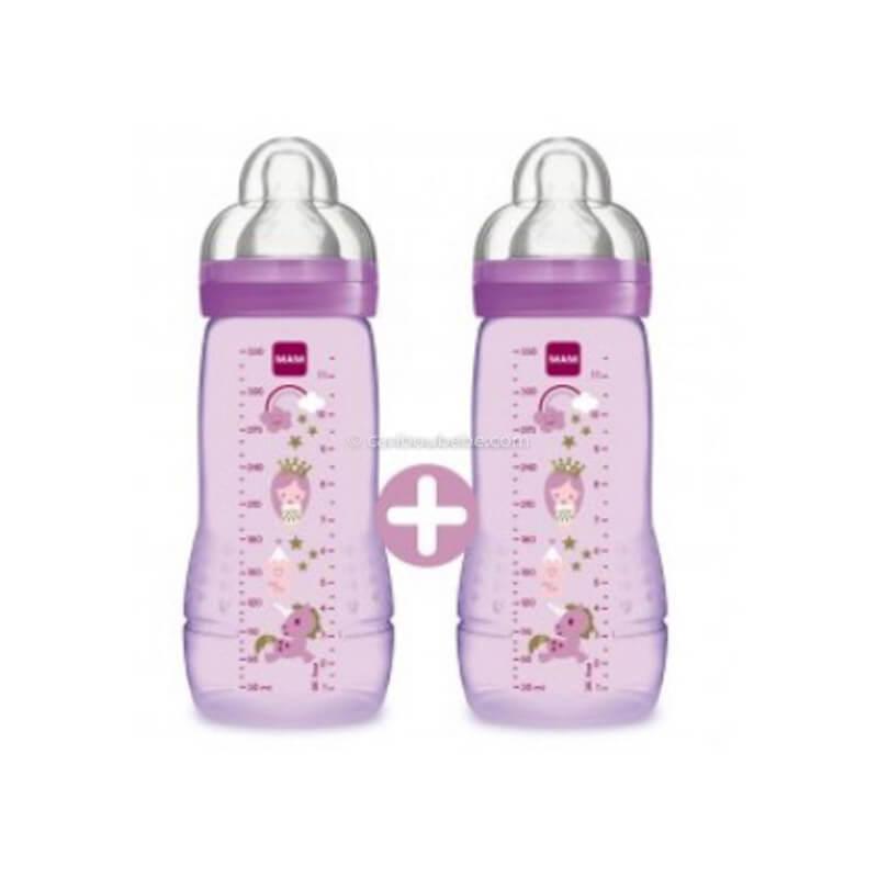 Biberon Easy Active 2ème Age Coloré 330ml Rose Fille x2 Mam Baby