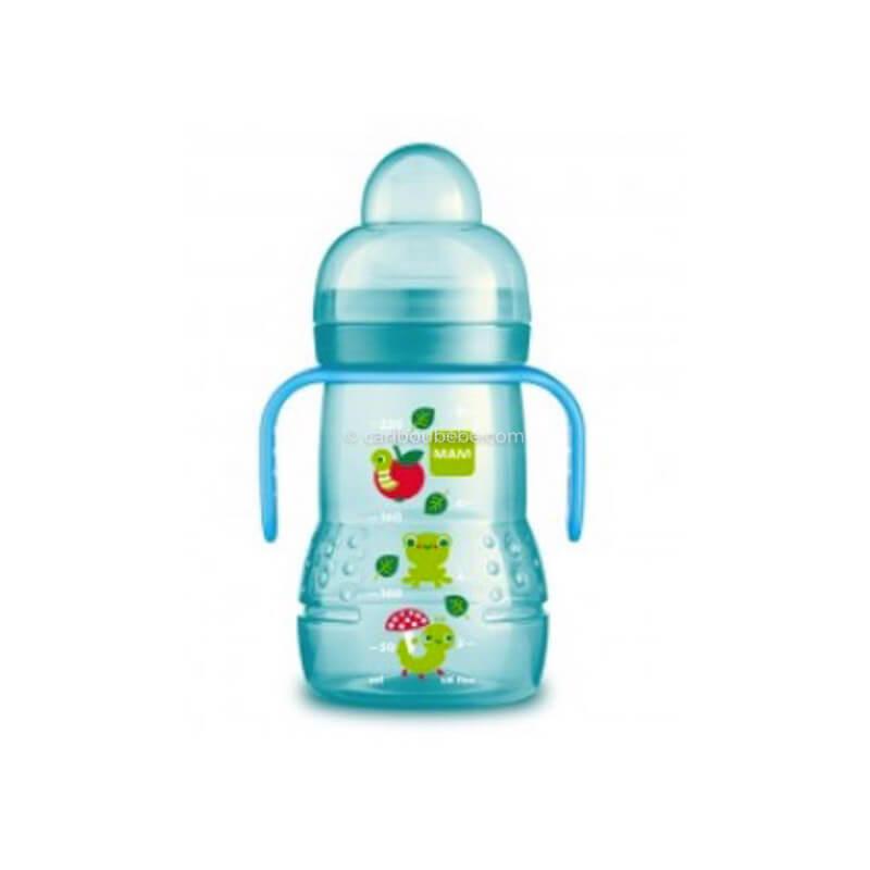 Biberon de Transition 220ml Bec Souple Antifuite en Silicone Bleu Garçon Mam Baby