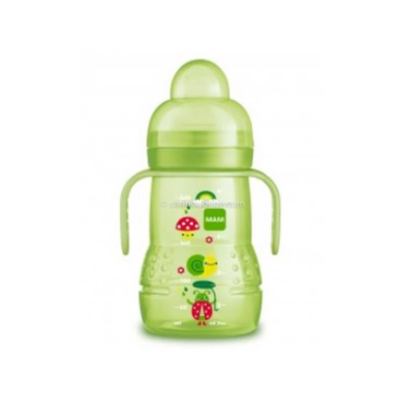 Biberon de Transition 220ml Bec Souple Antifuite en Silicone Vert Unisexe Mam Baby