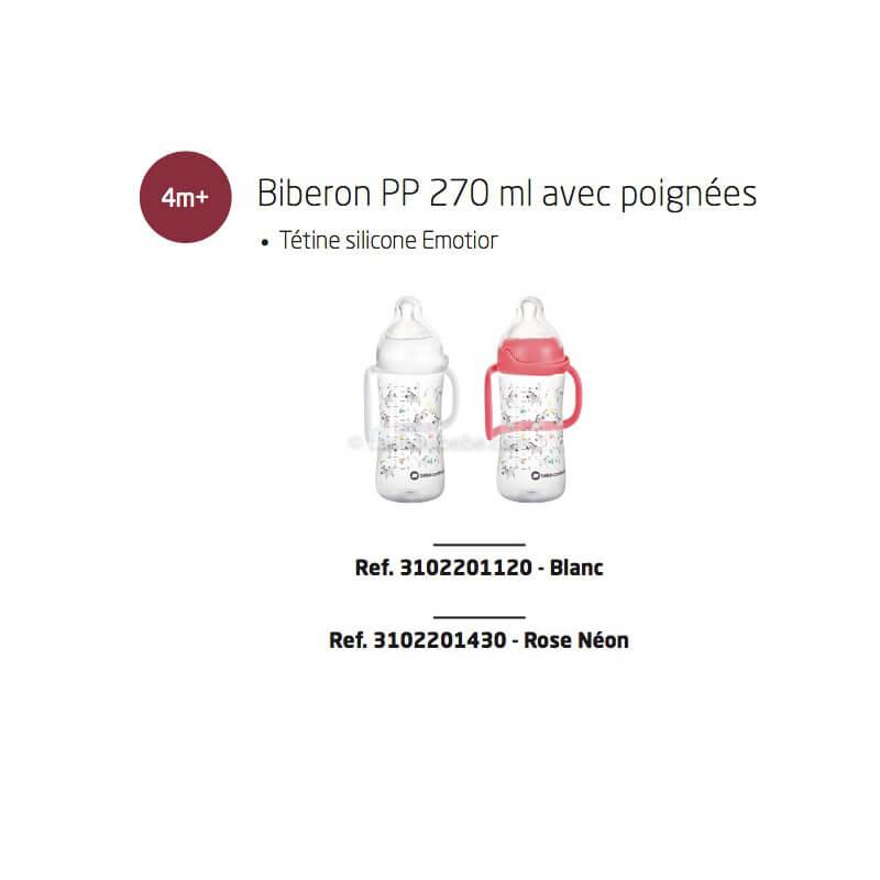Biberons Émotion PP 270ml Avec Poignées Blanc ou Rose Tétine Silicone T2 Sweet Bunny 6-24M Bébé Confort