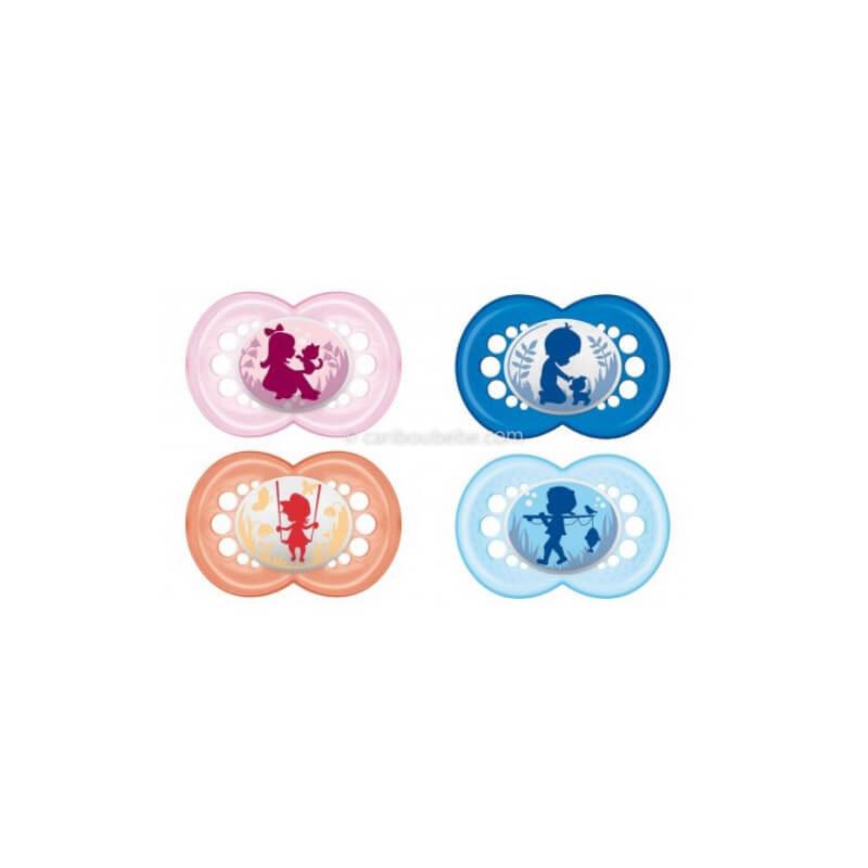 Sucette Décors Tendance Caoutchouc ou Silicone + Boîte de Stérilisation +18M Mam Baby