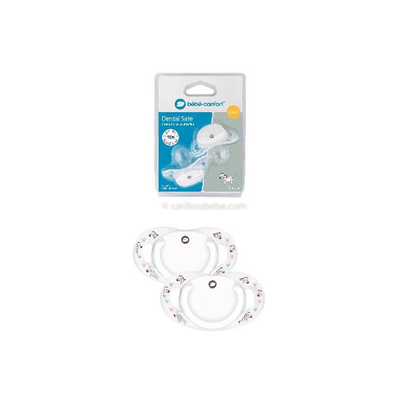 2 Sucettes Dental Safe en Silicone Savannah Blanc 0-36M Bébé Confort