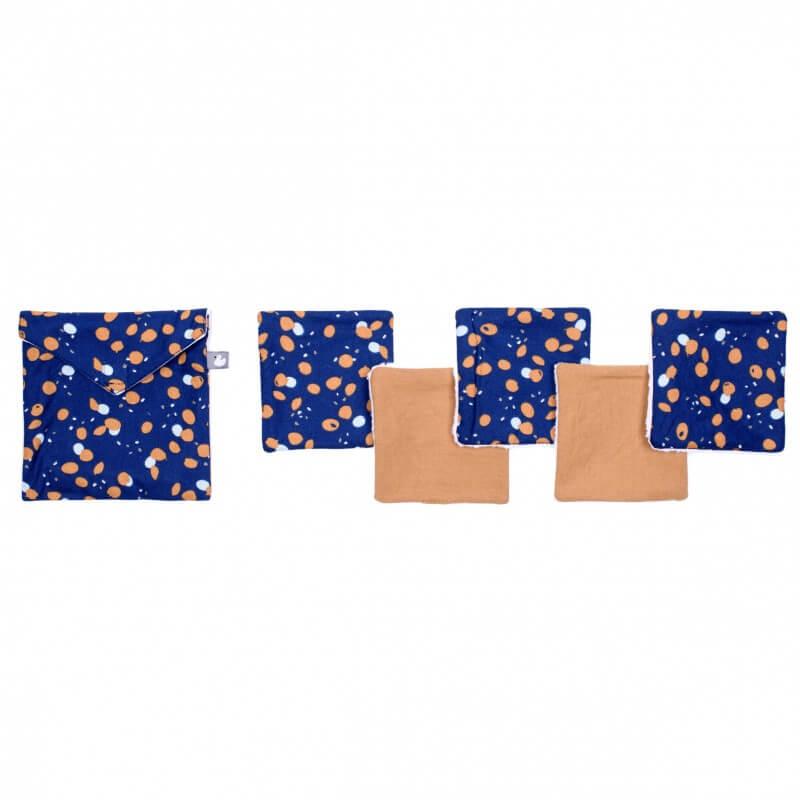 Lingettes Lavables Pochette Assortie Imprimé Indigo Lagon Camel BB&Co