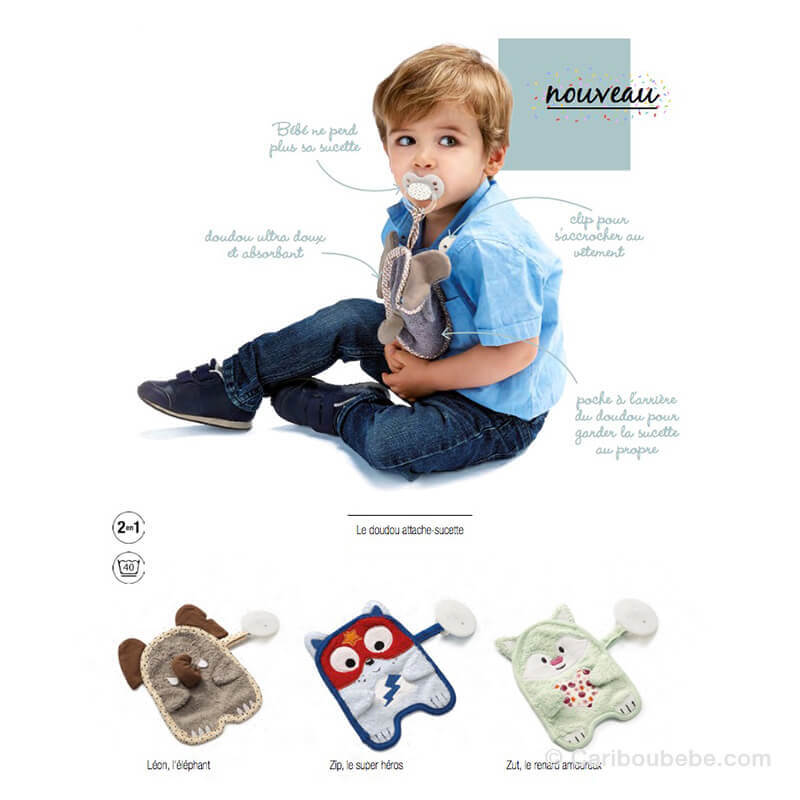Bavoir Attache-Sucette Doudou Thoodou Thermobaby