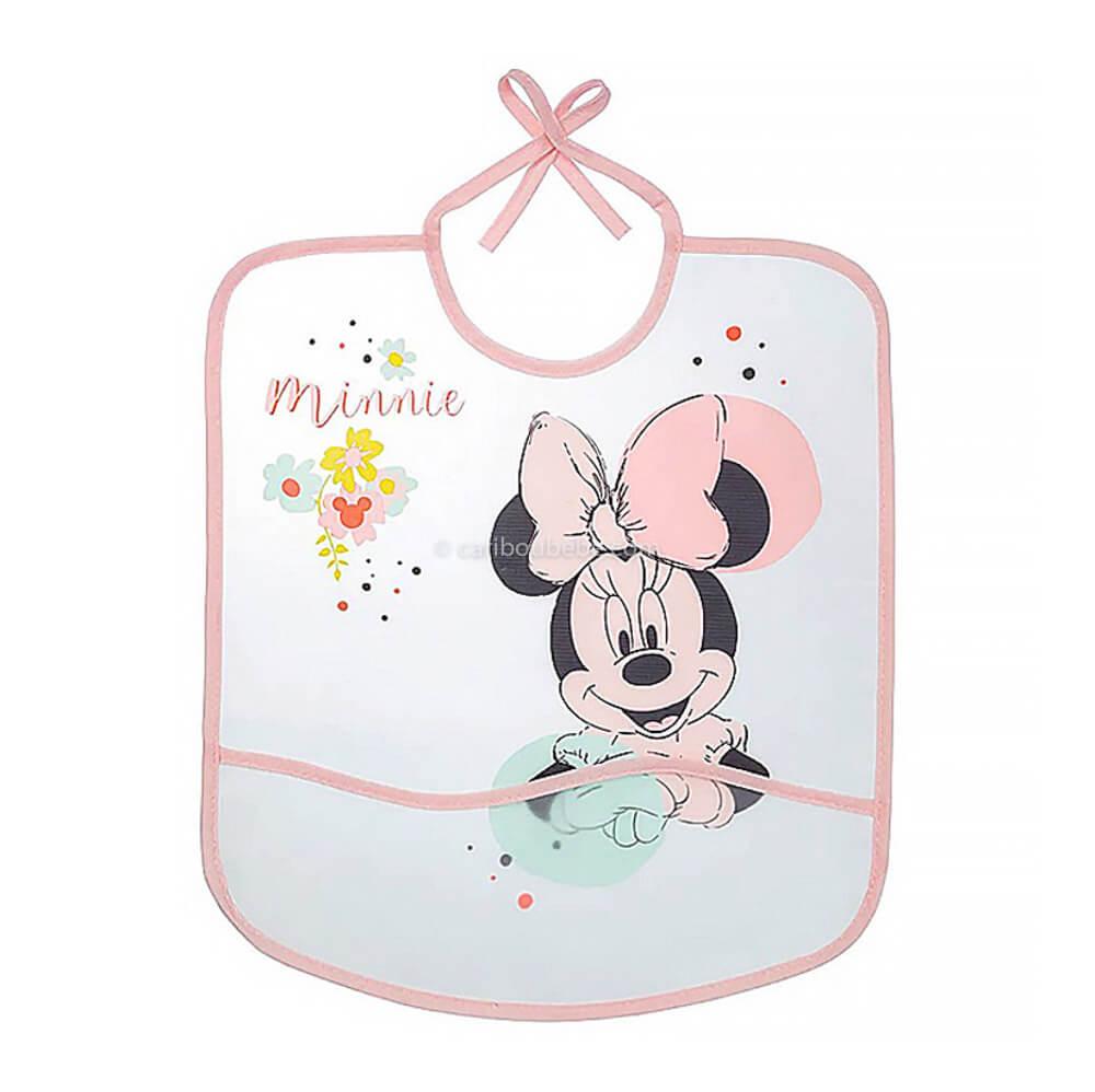 Bavoir imperméable Disney Minnie Floral avec poche 28x32cm 6M Baby Calin