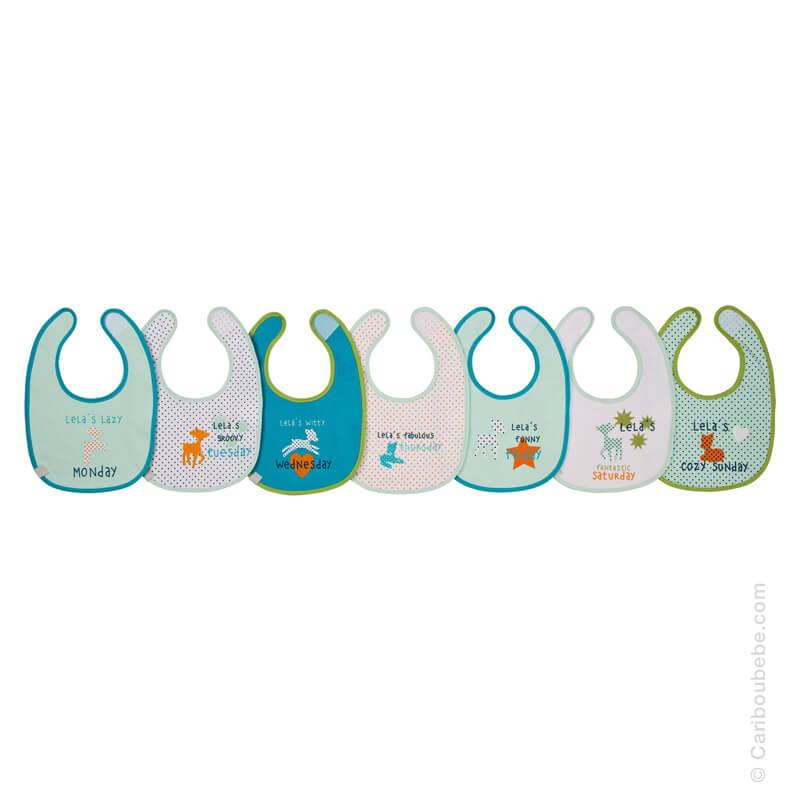 Bavoirs x7 Lela Jours de la Semaine Multicolore en Coton Éponge Imperméable 3-18M Lassig