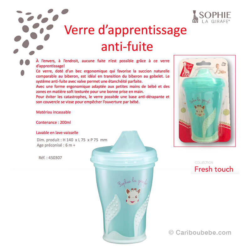 Verre d'Apprentissage Anti-Fuite 200ml 6M Sophie La Girafe