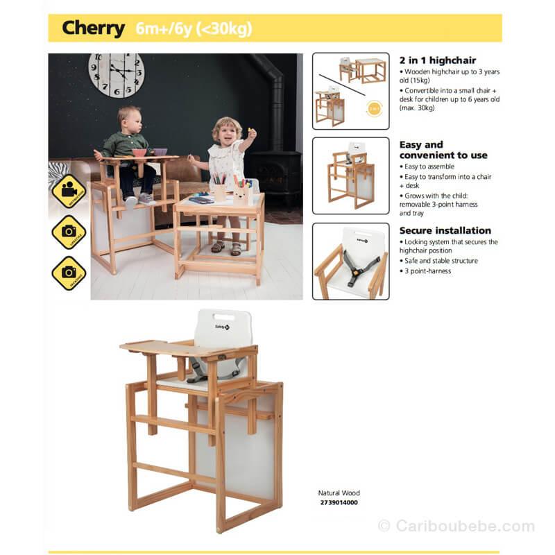 Chaises Haute Évolutive Cherry 2en1 Natural Wood Safety