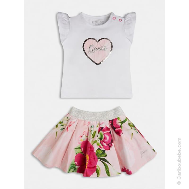Ensemble T-Shirt MC + Jupe Imprimé Floral Guess Kids