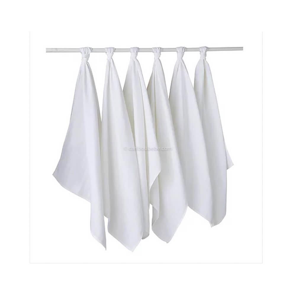 Lange x6 Coton 50x70cm Blanc Baby Calin