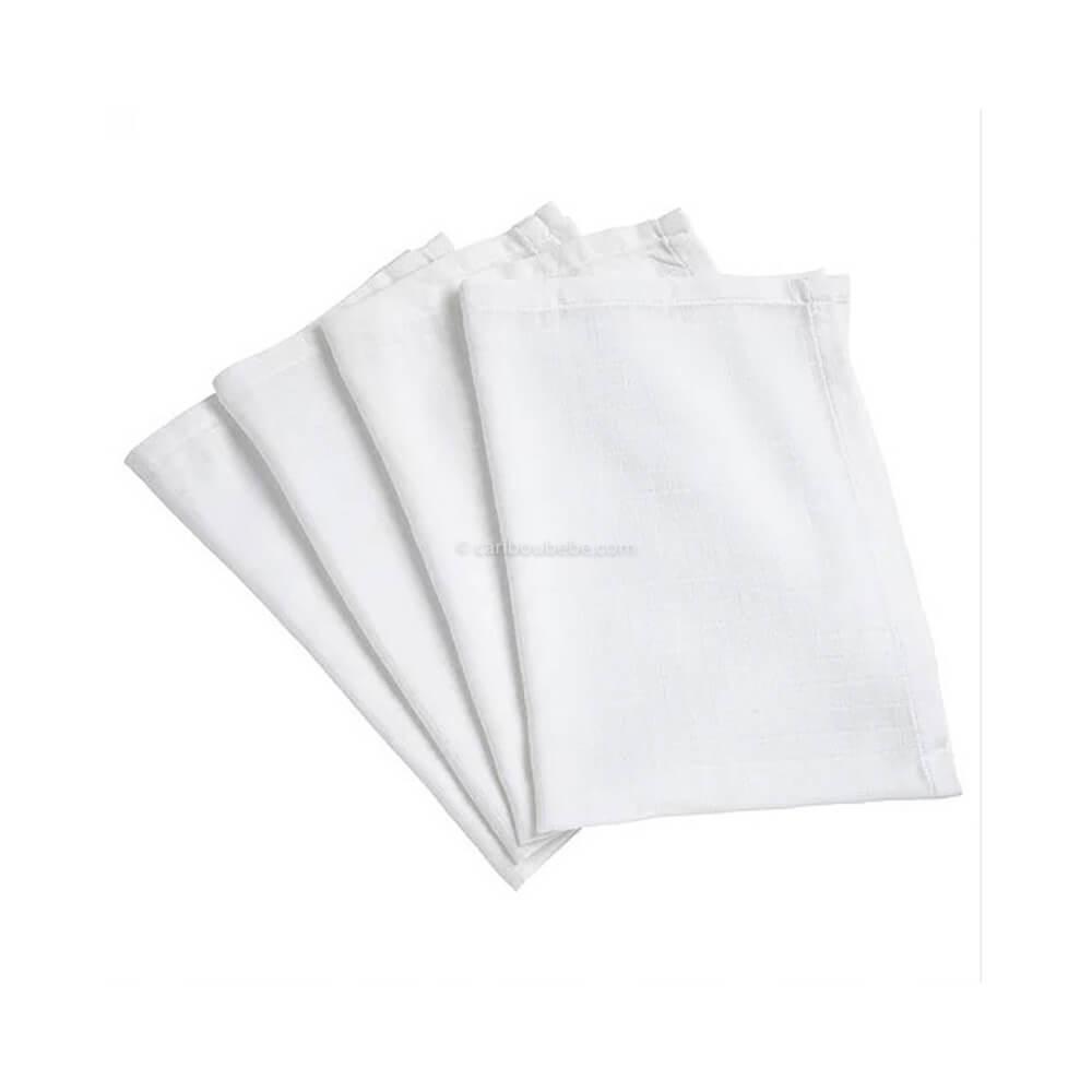 Lange x4 Coton 50x70cm Blanc Baby Calin
