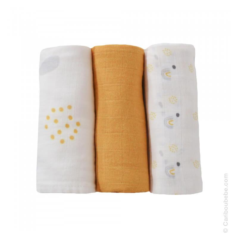 Langes x3 70x70cm Mousseline 100% coton Arc-en-Ciel Orange 3 Kilos 7