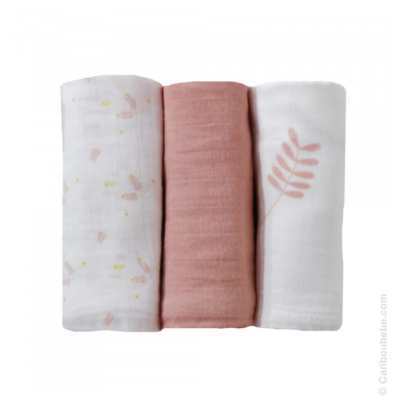 Langes x3 70x70cm Mousseline 100% coton Bohème Rose 3 Kilos 7