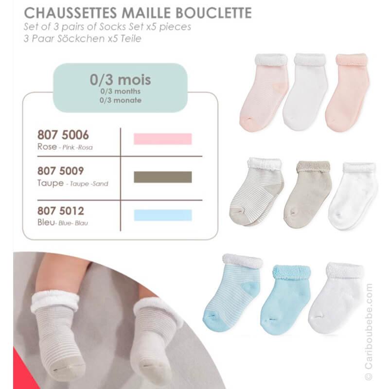 Chaussettes Maille Bouclette pour Bébe Beige, Bleu ou Rose 0/3M Novatex