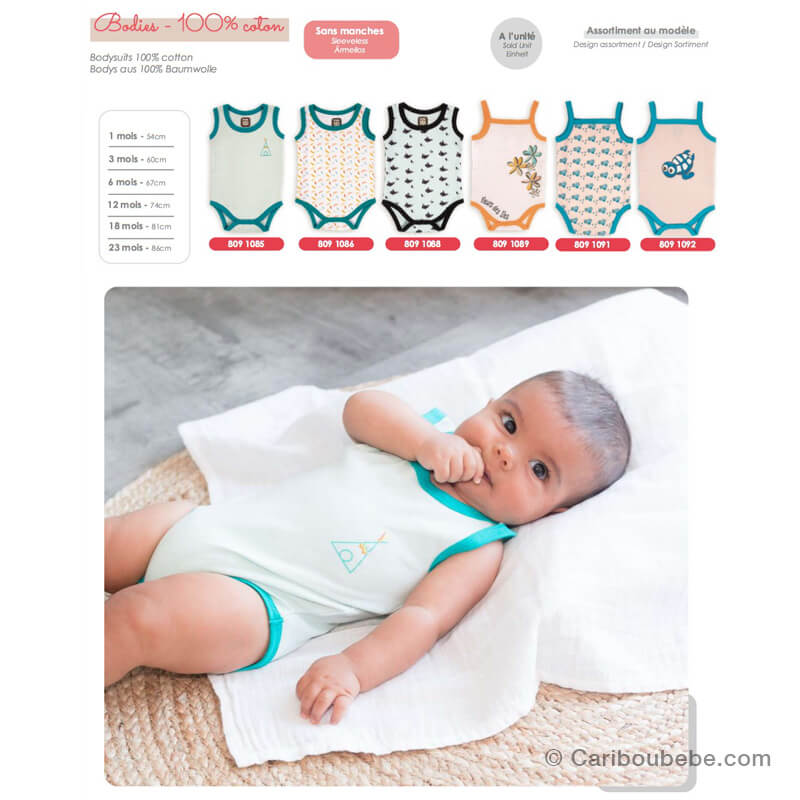 Body Coton 1-3-6-9-12-18-23M Sans Manche Novatex