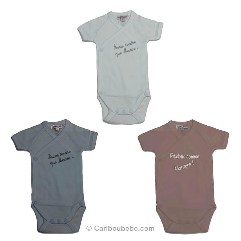 Body Coton x2 0-6M Manche Courte Papi Mamie (Blanc, Gris, Taupe) Les Chatounets Body Dors Bien