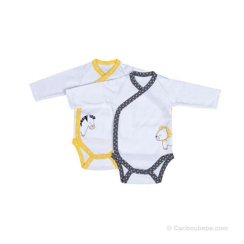 Body x2 en Coton Ouverture Croisée Pluche et Pompon 1M ML Sauthon Baby Déco