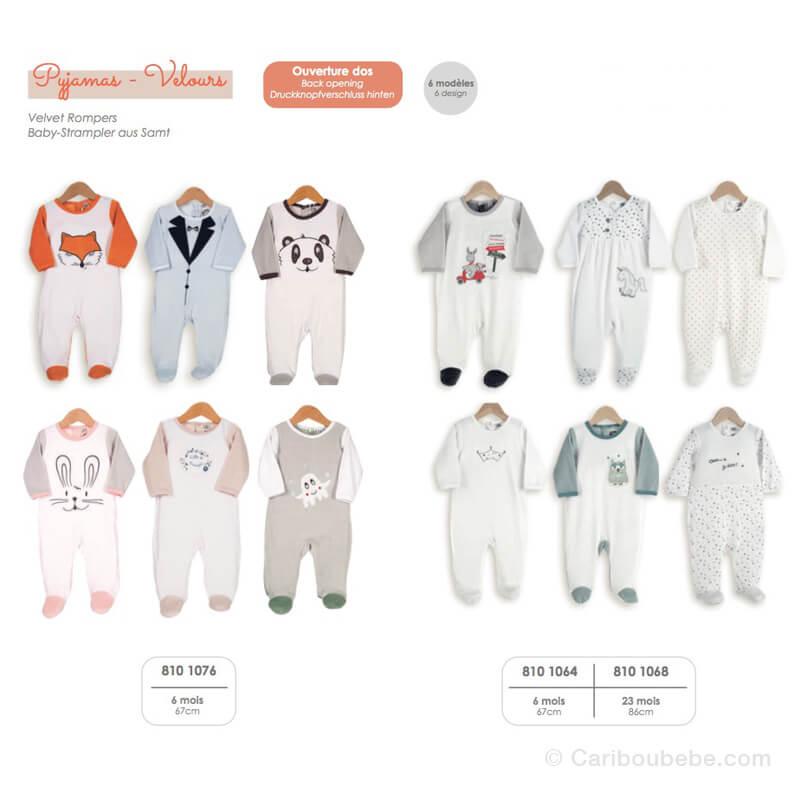 Pyjama 00-0-1-3-6M Velours Manche Longue Novatex