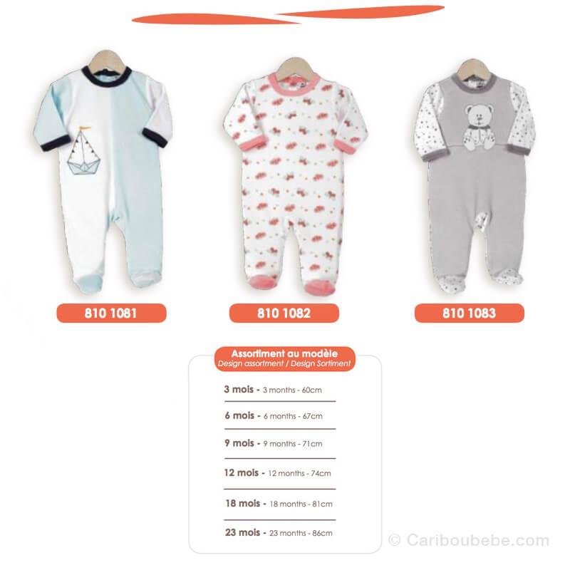 Pyjama Velours 3-6-9-12-18-23M Novatex
